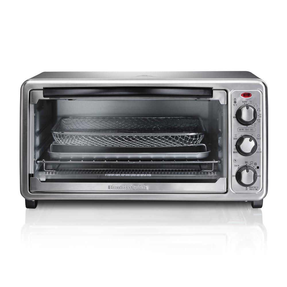 Hamilton Beach Sure Crisp 1440 W 6-Slice Stainless Steel Toaster Oven with Air Fry, Silver -  31413