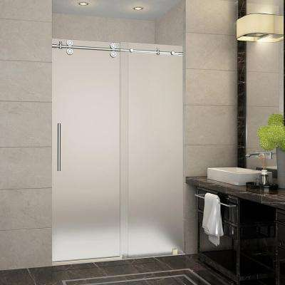 Langham 44 in. to 48 in. x 75 in. Completely Frameless Sliding Shower Door with Frosted Glass in Chrome