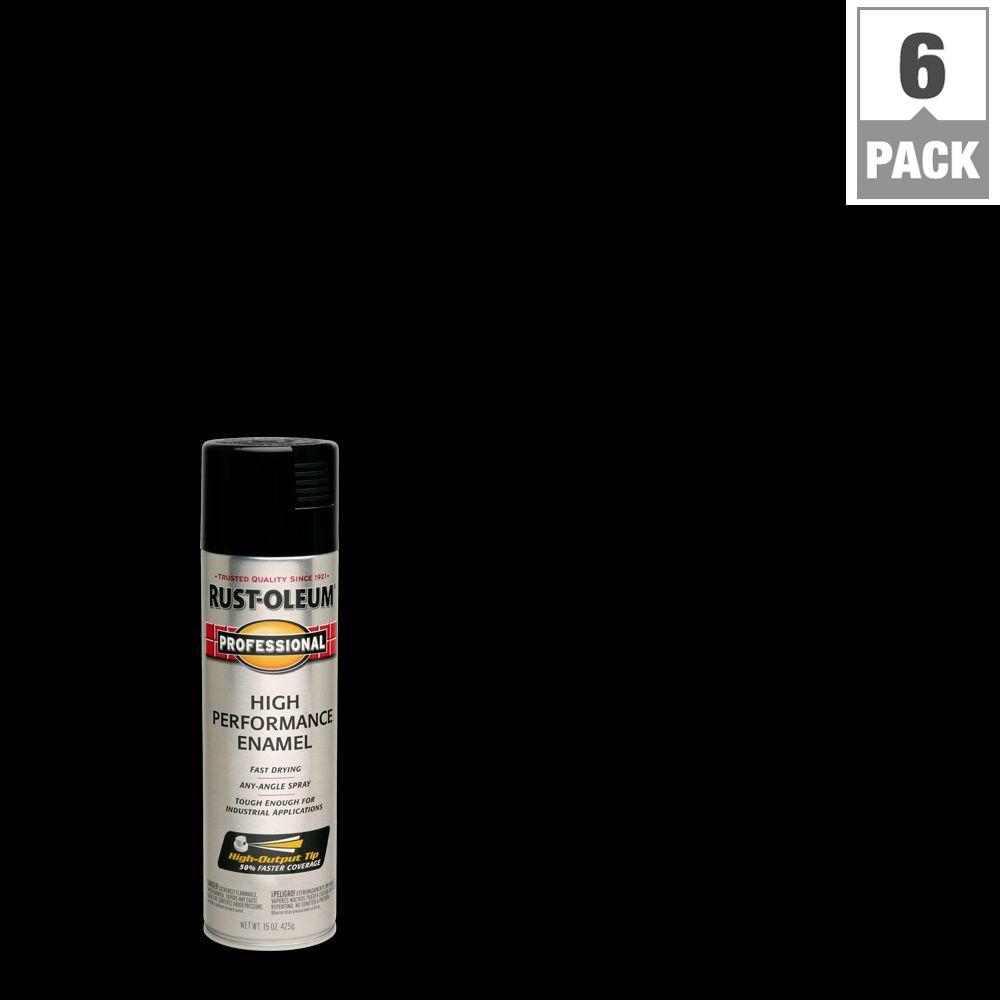 15 oz. High Performance Enamel Gloss Black Spray Paint (6-Pack)