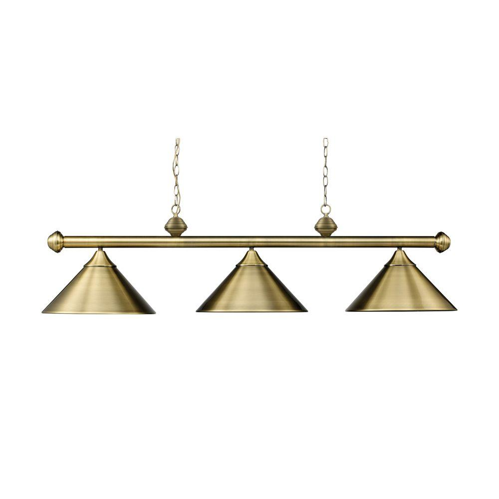 Titan Lighting 3-Light Ceiling Mount Antique Brass Island Light
