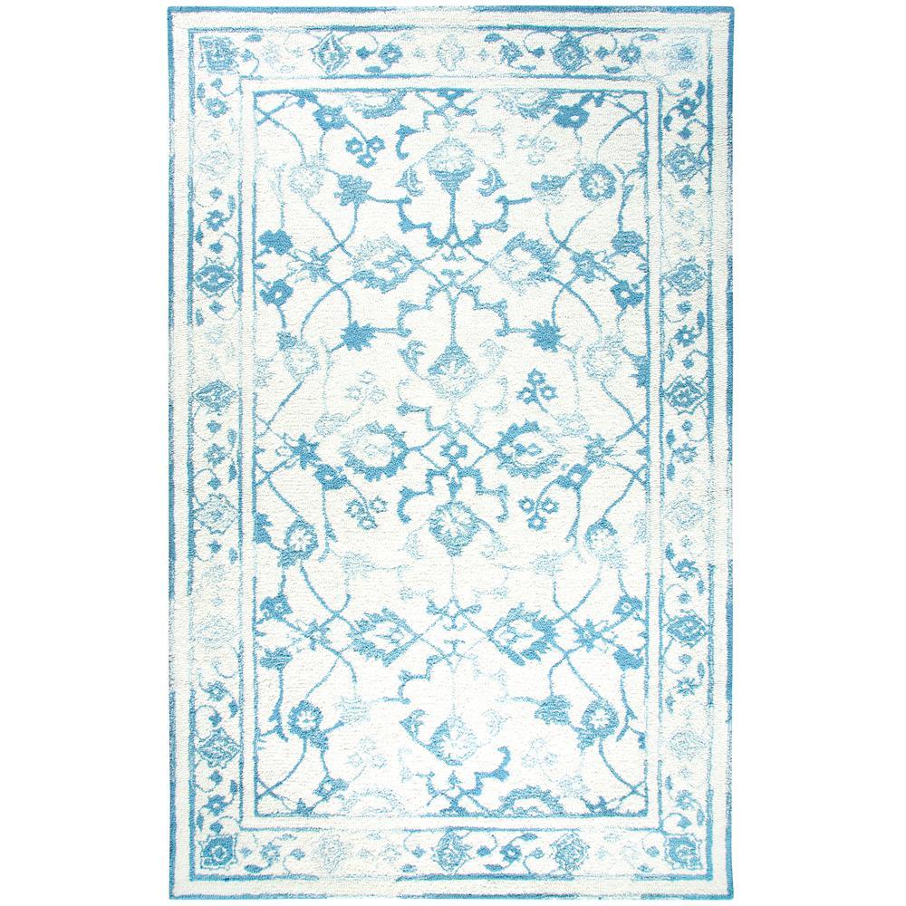 Avalon Ivory/Light Blue 3 ft. 3 in. x 5 ft. 3
