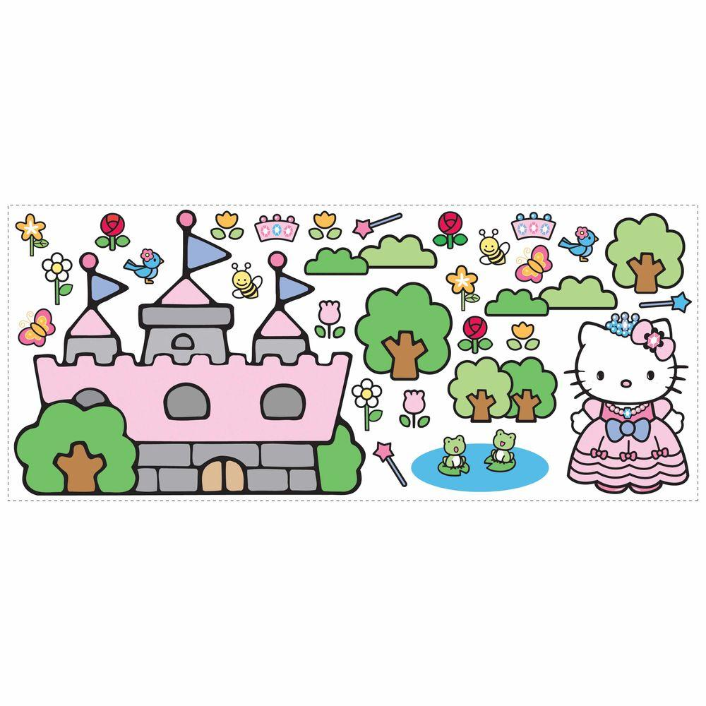 RoomMates 5 in. x 19 in. Hello Kitty Princess Castle 31-Piece Peel and Stick Giant Wall Decals