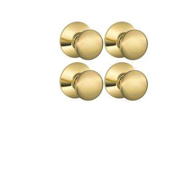 Plymouth Bright Brass Hall and Closet Knob (4-Pack)