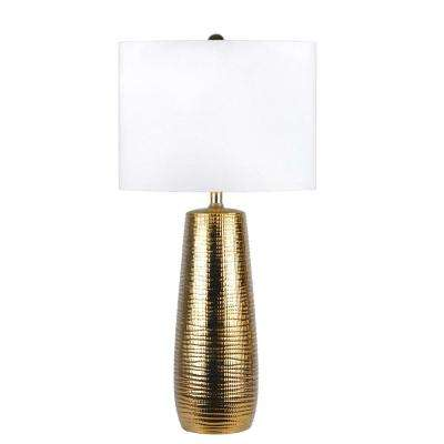 Acacia Ceramic Tower 26 in. Gold Table Lamp