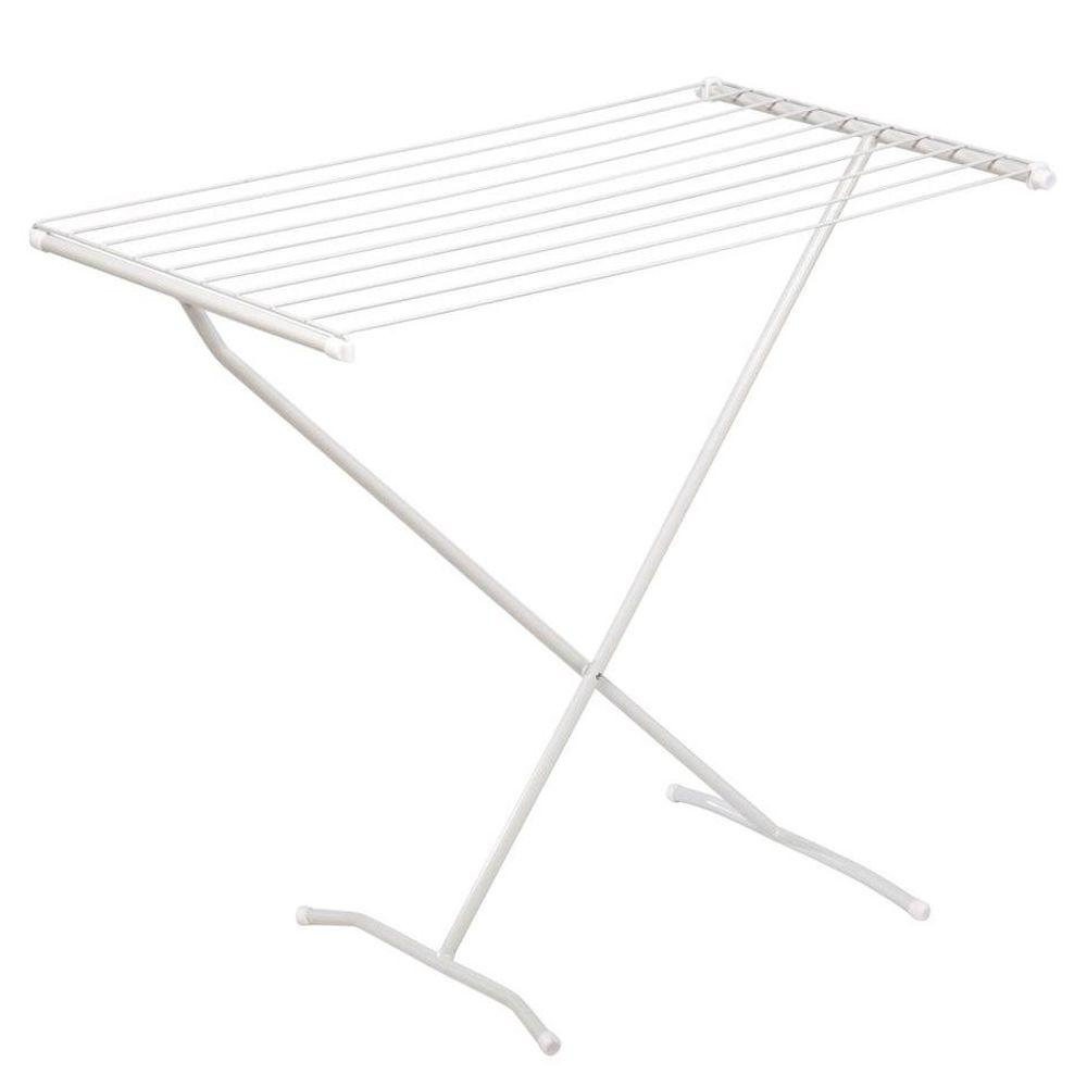 Folding Laundry Drying Rack White Metal Wire Clothesline