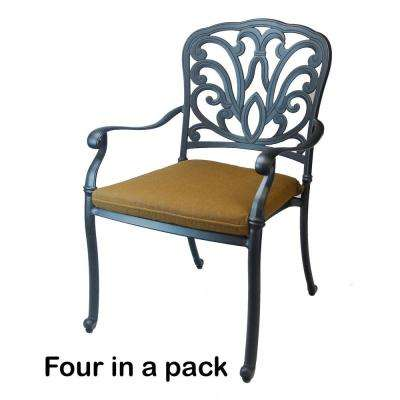 Hampton Cast Aluminum Patio Dining Chair with Sunbrella Canvas Teak Cushions (4-Pack)