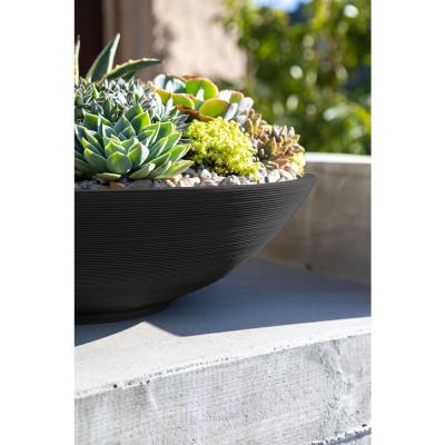 Lane Bowl 32 in. Black Plastic Round Planter