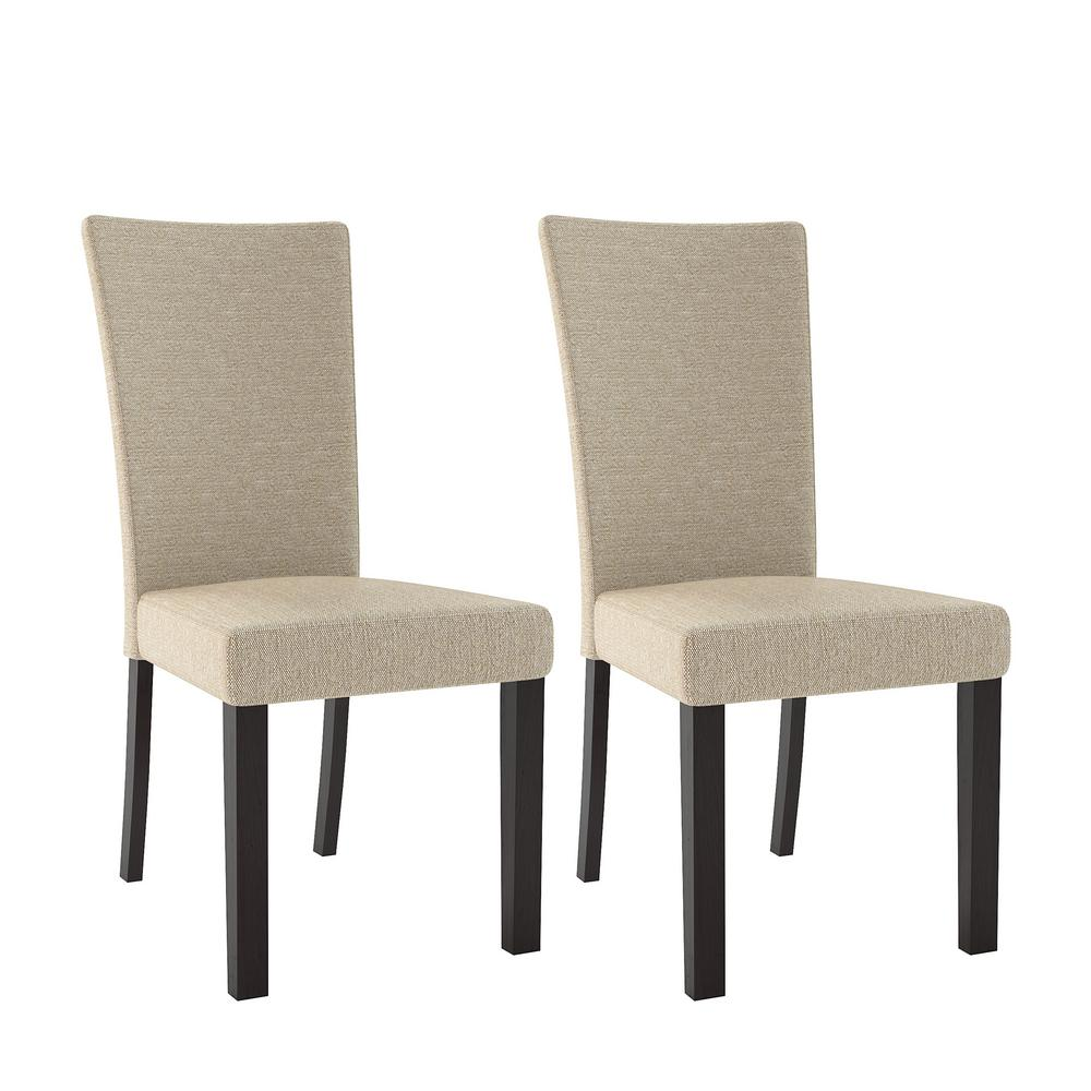 CorLiving Bistro Woven Cream Fabric Dining Chairs (Set Of