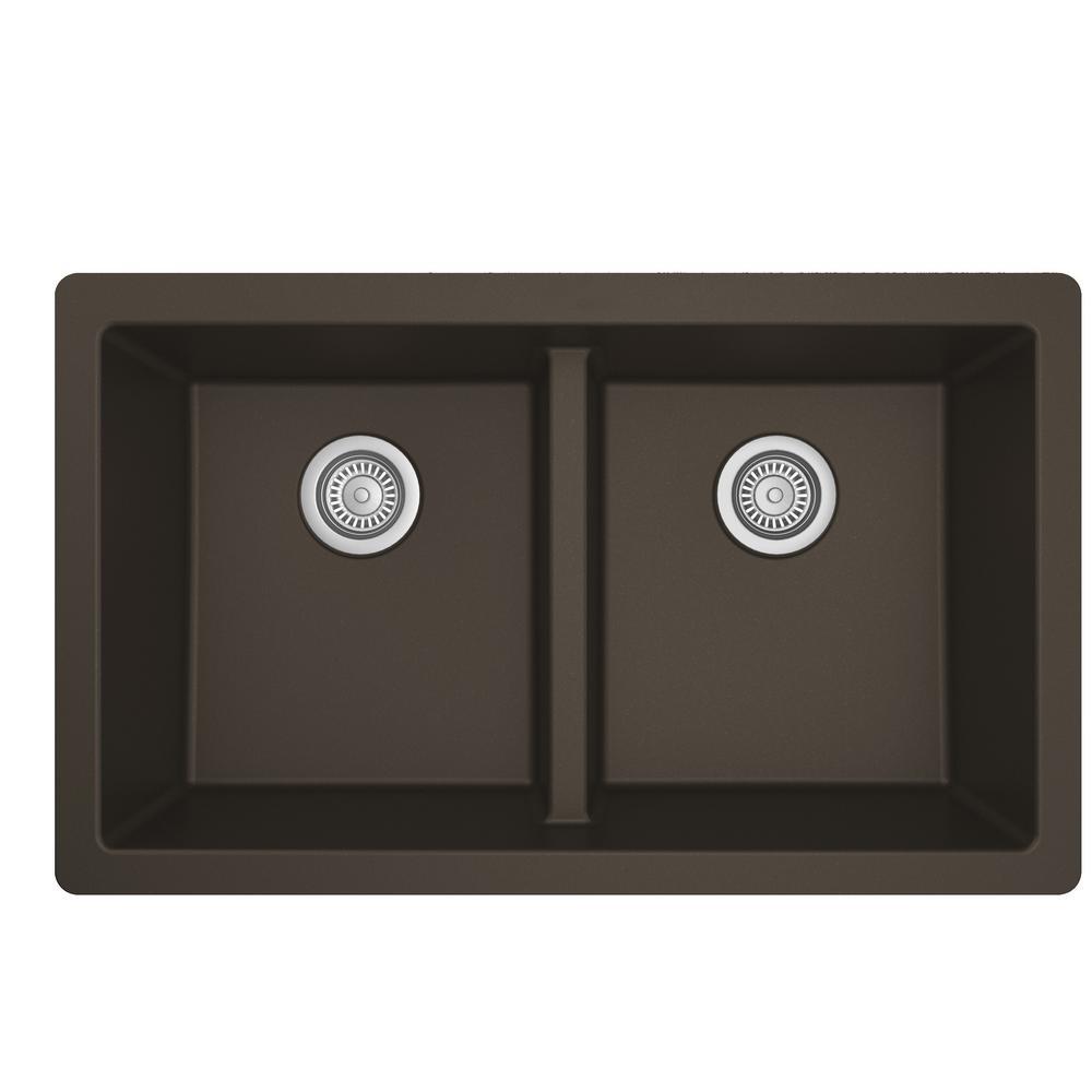 Quartz Brown 33 in. 50/50  Double Bowl Composite Undermount Kitchen Sink