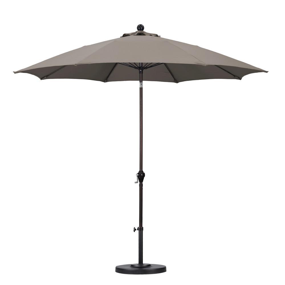 California Umbrella 9 ft. Fiberglass Push Tilt Patio Umbrella in Taupe Polyester