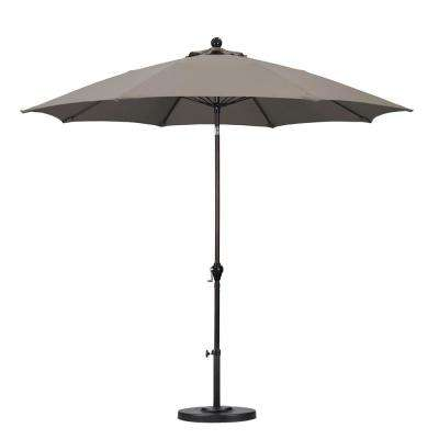 9 ft. Fiberglass Push Tilt Patio Umbrella in Taupe Polyester