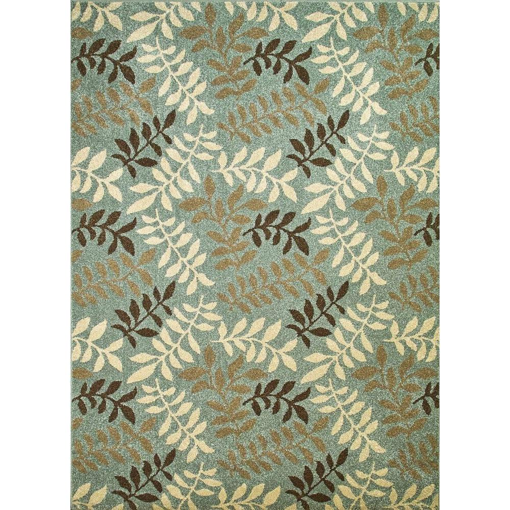 Chester Leafs Blue 3 ft. x 5 ft. Area Rug