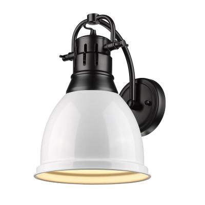 Duncan Collection 1-Light Black Sconce with White Shade