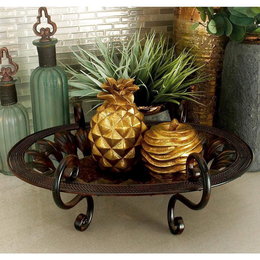 Litton Lane Rustic Bronze Leaf Cut-Out Decorative Trays (Set of 3), Metallics
