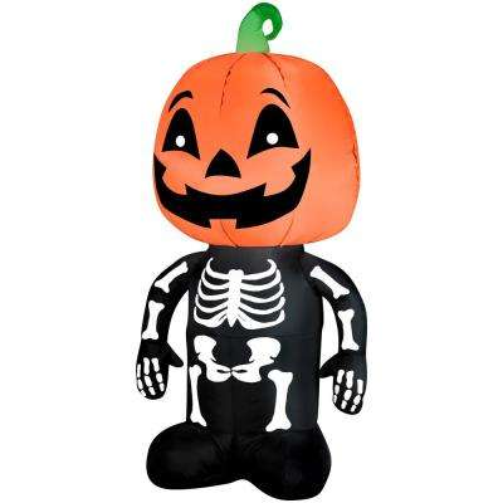 3.51 ft. Pre-Lit Inflatable Pumpkin Boy Skeleton Air blown