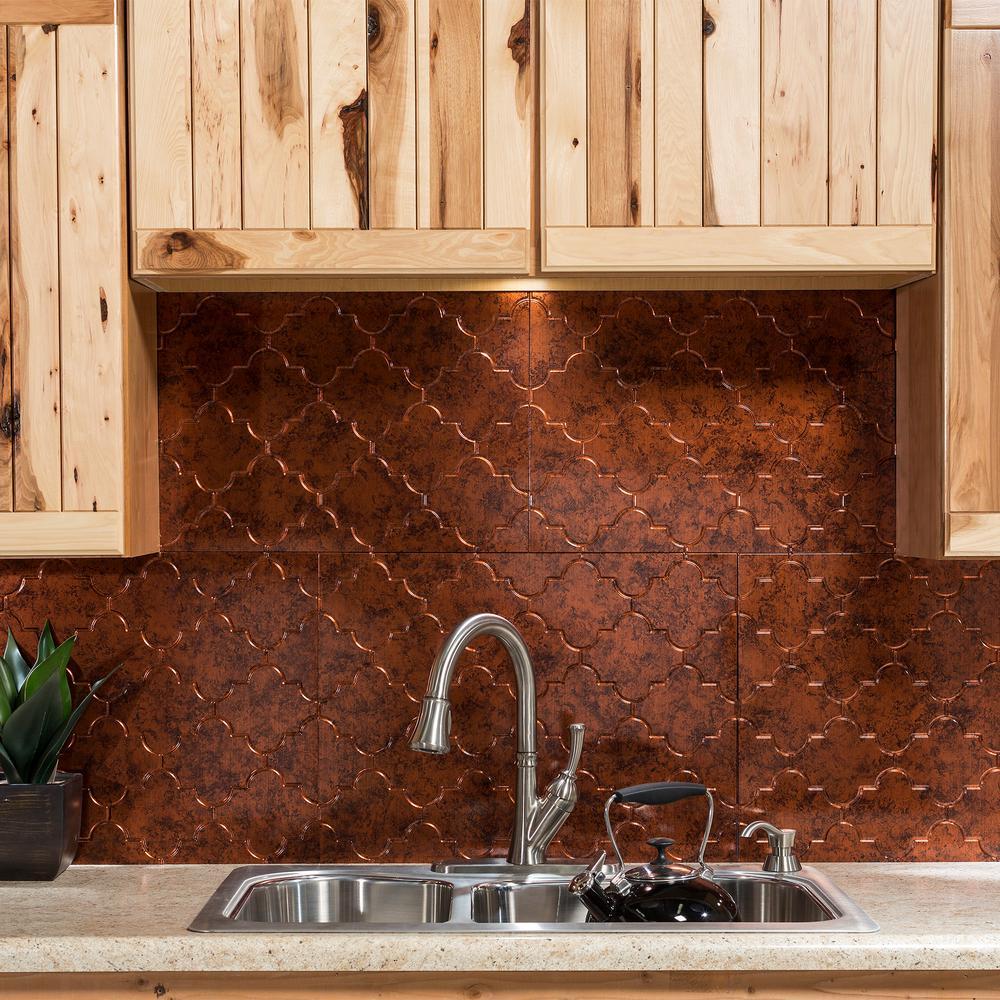 Fasade Monaco 18 In X 24 In Moonstone Copper Vinyl Decorative Wall Tile Backsplash 18 Sq Ft