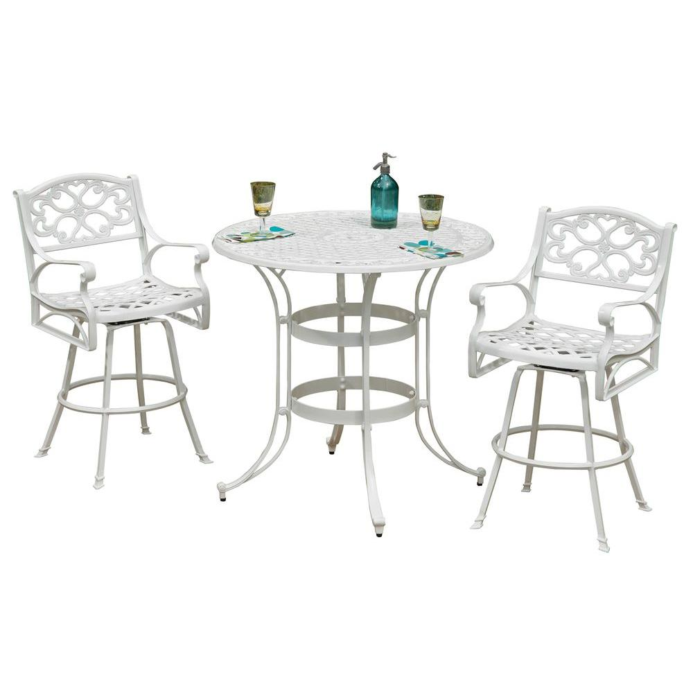 Home Styles Biscayne White 3-Piece Patio Bistro Set with Green Apple Cushions-DISCONTINUED