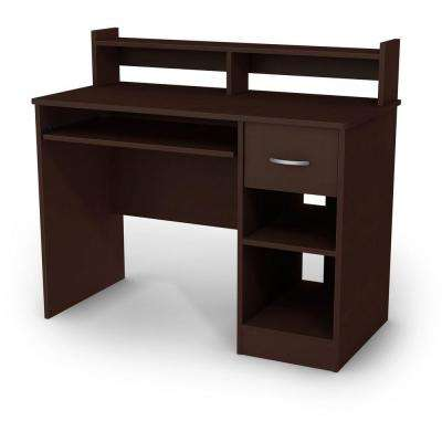 42 in. Chocolate Rectangular 1 -Drawer Computer Desk with Hutch