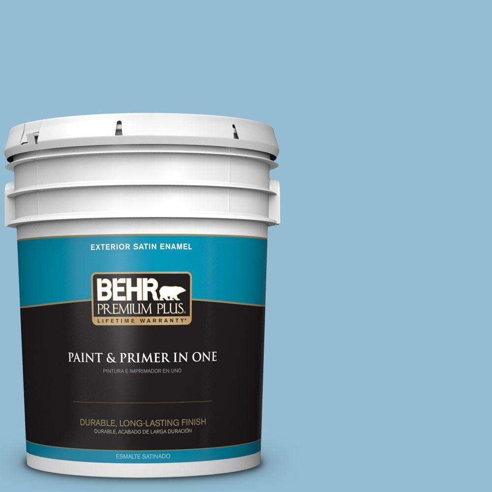 Exterior Paint Colors Home Depot: BEHR Premium Plus 5 Gal. #M500-3 Blue Chalk Color Satin
