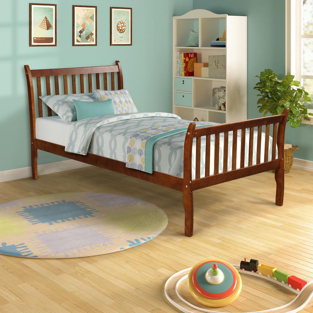Walnut Modern Farmhouse Style Pine Wood Twin Size Bed
