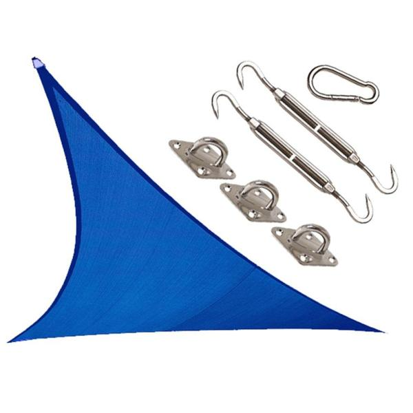 Coolhaven 12 ft. x 12 ft. Sapphire Triangle Shade Sail with Kit
