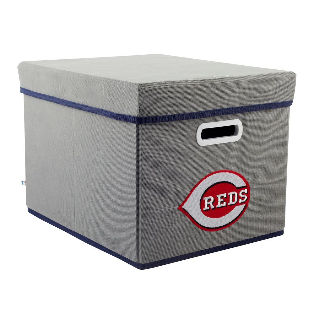 MyOwnersBox MLB STACKITS Cincinnati Reds 12 in. x 10 in. x 15 in. Stackable Grey Fabric Storage Cube