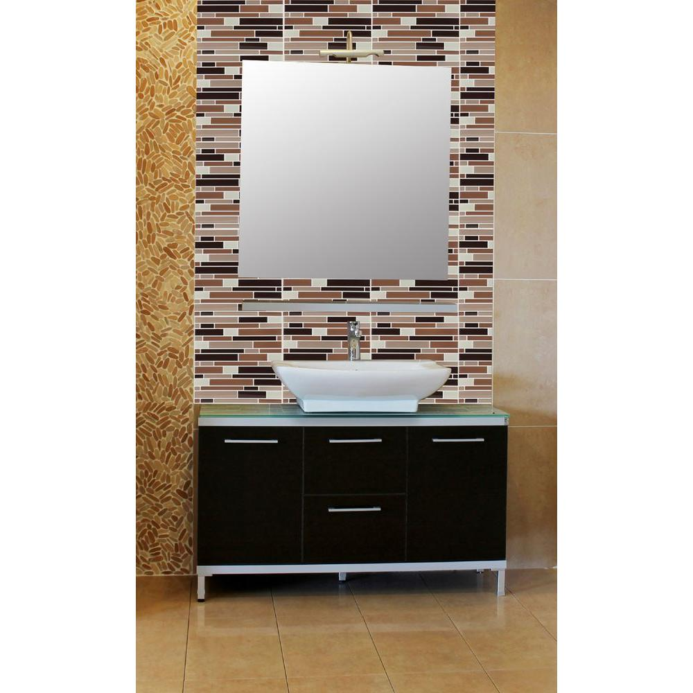 Achim 9.125 in. x 9.125 in. Magic Gel Decorative Mosaic Wall Tile in Coffee and Beige Piano (6-Pack)
