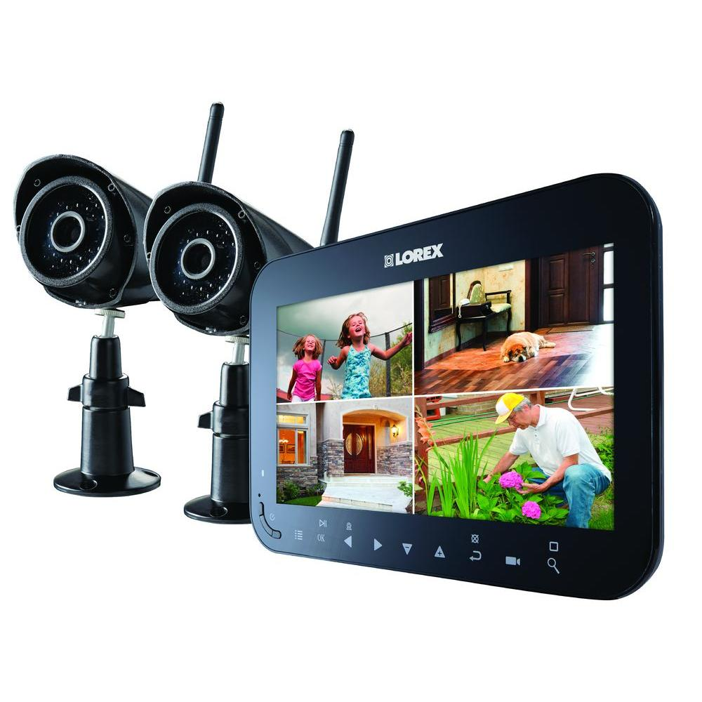 Lorex Wireless 4-Channel VGA Surveillance System with 2 Weather Resistance Cameras and 7 in. Monitor with SD Recording