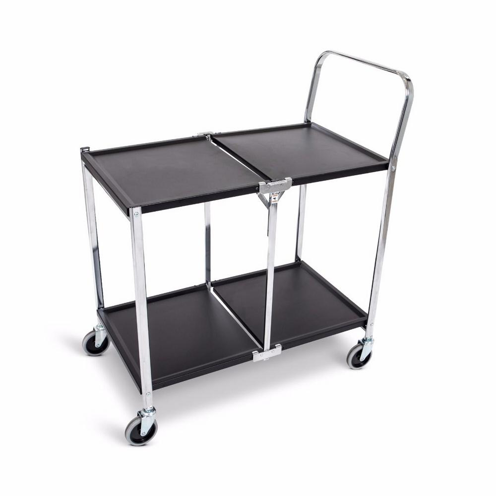 33.75 in. W 2-Shelves Steel Collapsible Metal Utility Cart with in