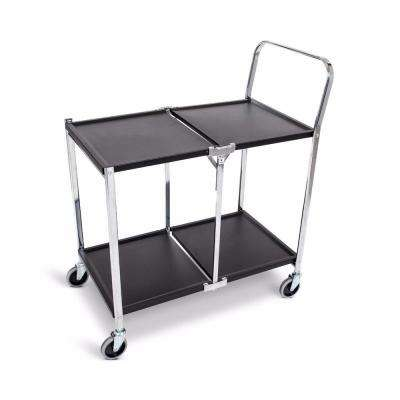 33.75 in. W 2-Shelves Steel Collapsible Metal Utility Cart with in Black