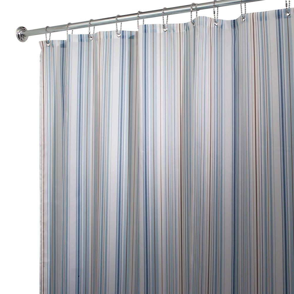 Interdesign Blue Essex Polyester Shower Curtain 36127cx The Home Depot