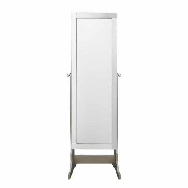 Inspired Home Adele Cheval Classic Silver Floor Mirror Jewelry Armoire with