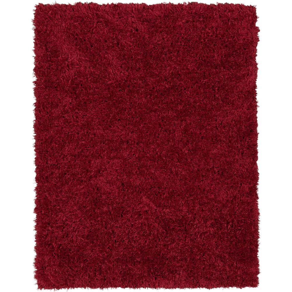 Ottomanson Pure Fuzzy Flokati Red 5 Ft X 7 Faux Sheepskin Indoor Kids