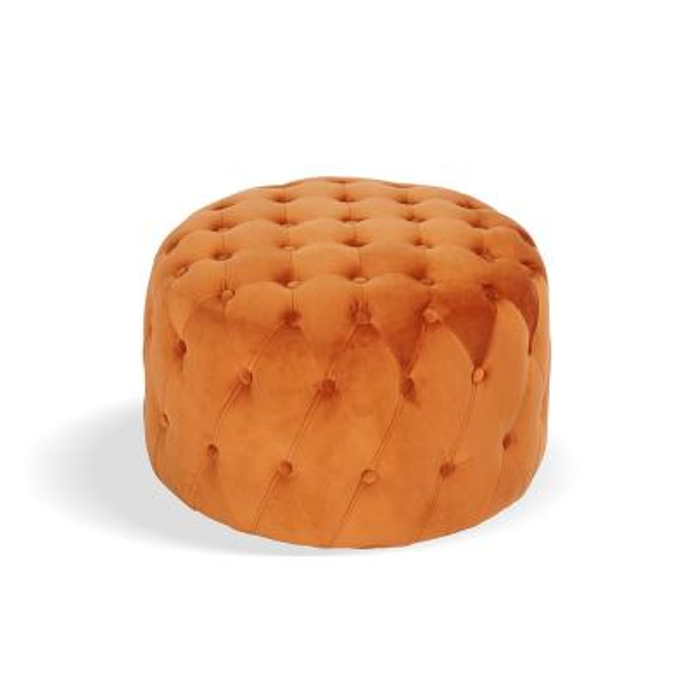 Ottoman Orange Standard Round Tufted Velvet