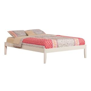 Concord White Queen Platform Bed with Open Foot Board