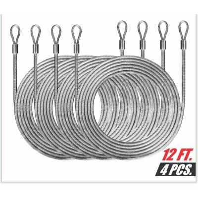 1/8 in. x 12 ft. Stainless Steel Vinyl Coated Extension Wire Rope w/ Looped Ends for Rectangle Sun Shade Sails (4-Piece)