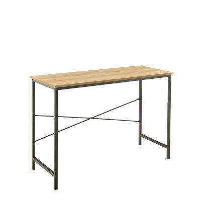 43.3 in W x 17.7 in. D Natural Desk with Decorative Shelf