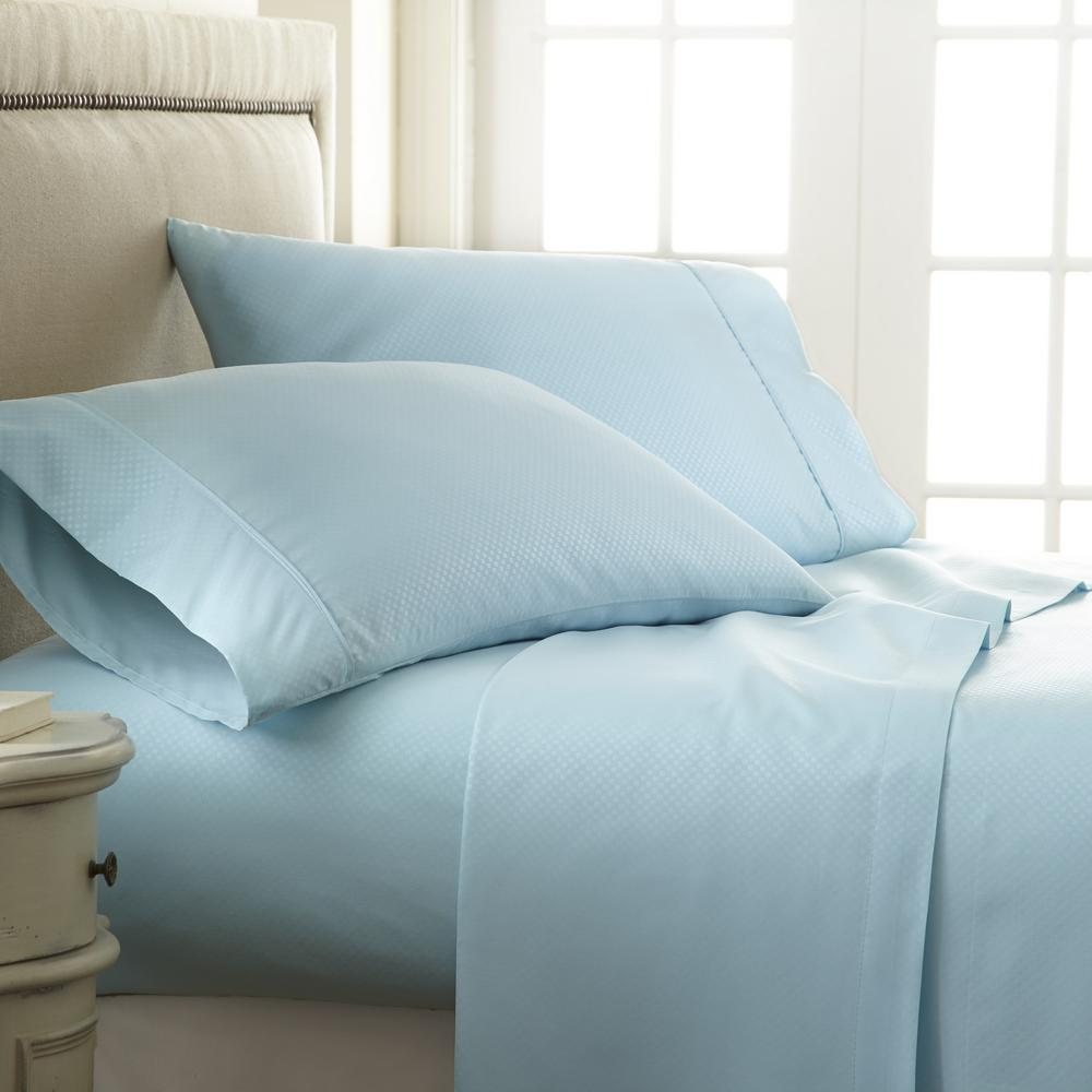 Becky Cameron Embossed Checkered Aqua Twin Performance 4 Piece Bed Sheet Set