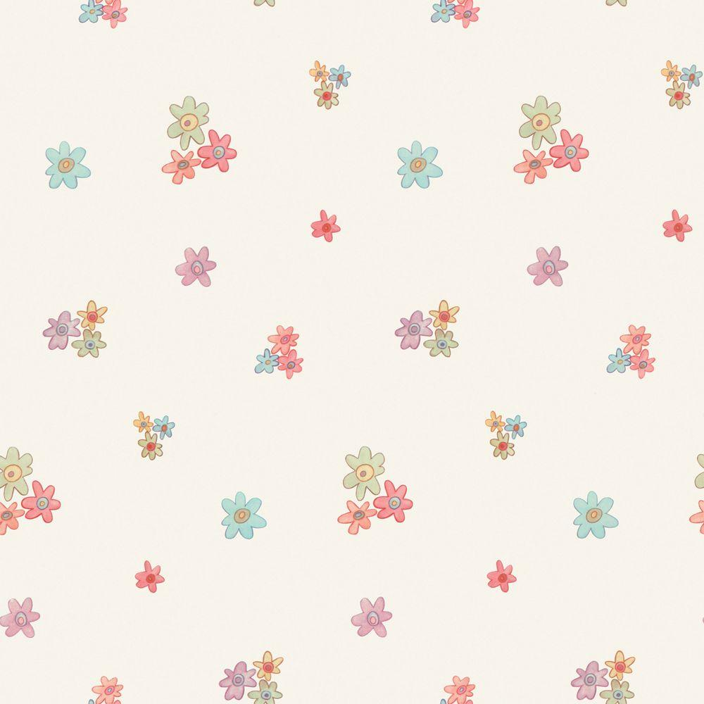 The Wallpaper Company 8 in. x 10 in. Multi Colored Mini Flower Toss Wallpaper Sample-DISCONTINUED