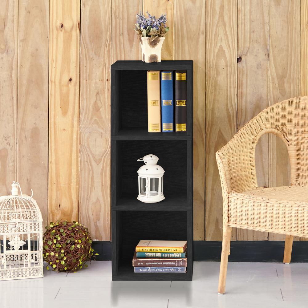 Wynwood 3-Shelf Black Eco zBoard Tool Free Assembly Narrow Bookcase Storage Shelf