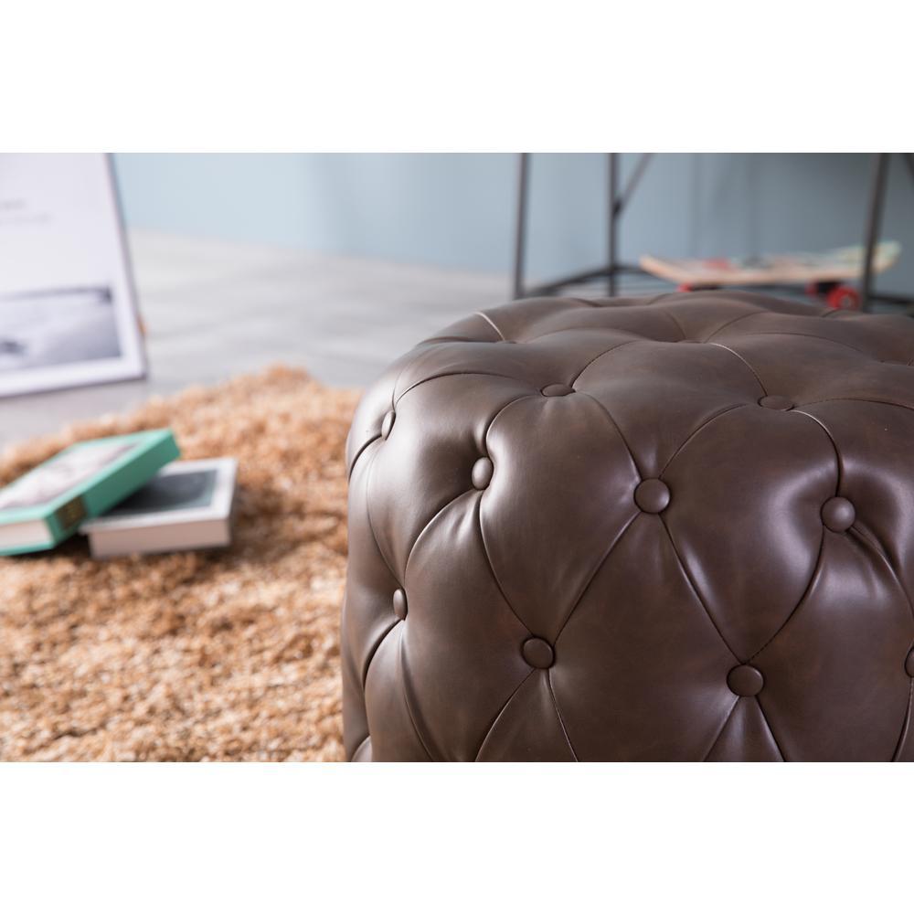 Surprising Tufted Brown Modern Leather Round Ottoman Stool Qi003535B Uwap Interior Chair Design Uwaporg