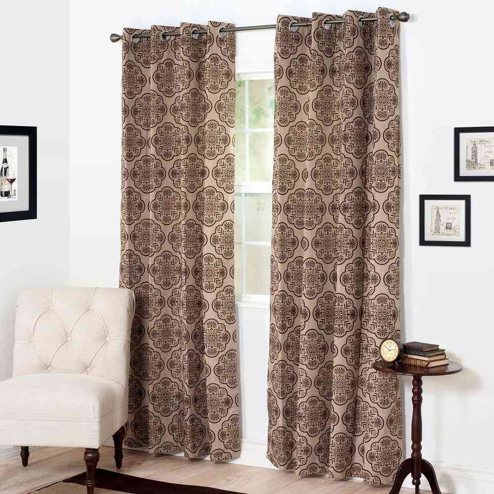 Semi-Opaque Dana Flocked Brown Polyester Grommet Curtain - 54 - Sale: $9.34 USD (40% off)