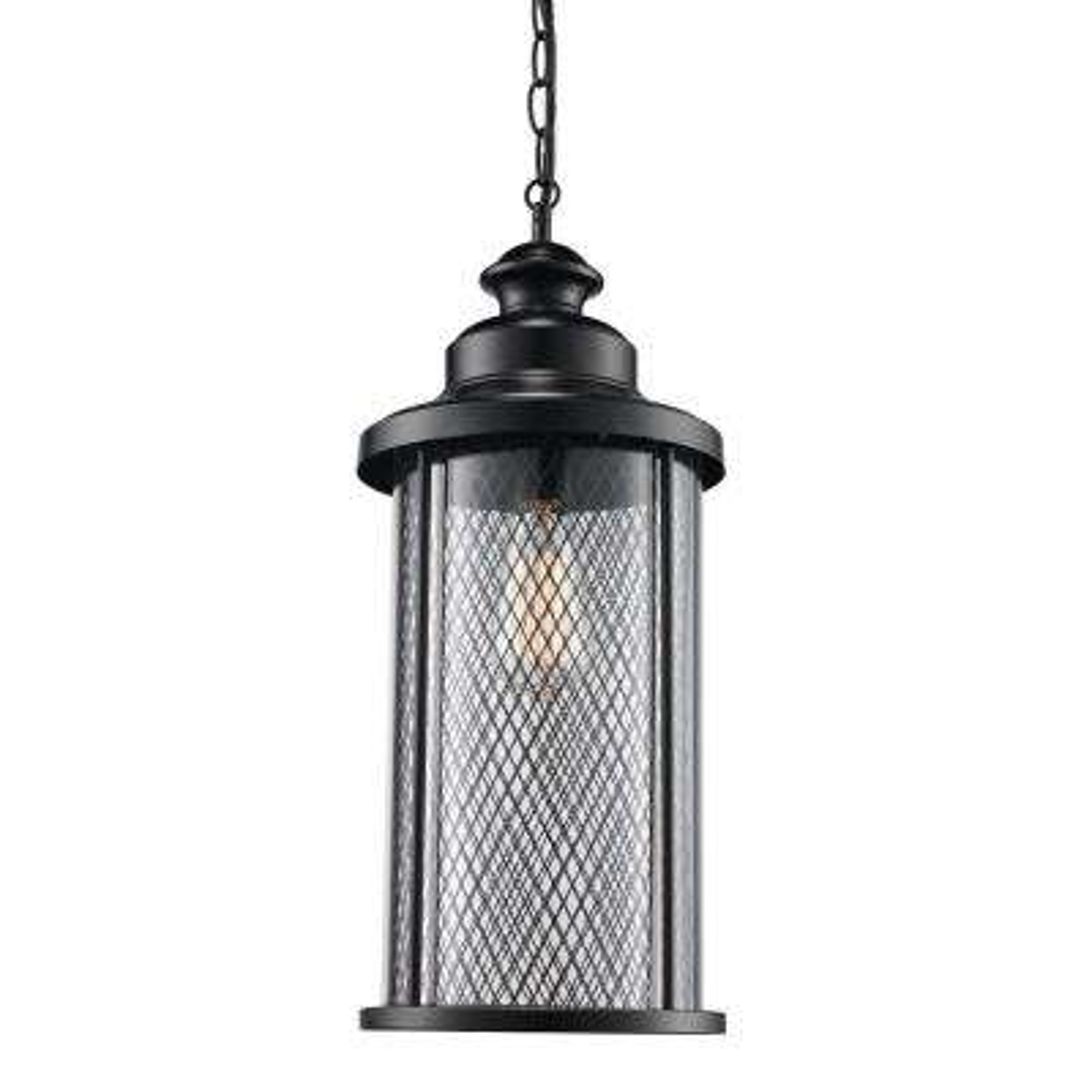 Black Finish Outdoor 1-Light Hanging Lantern with Mesh Frame