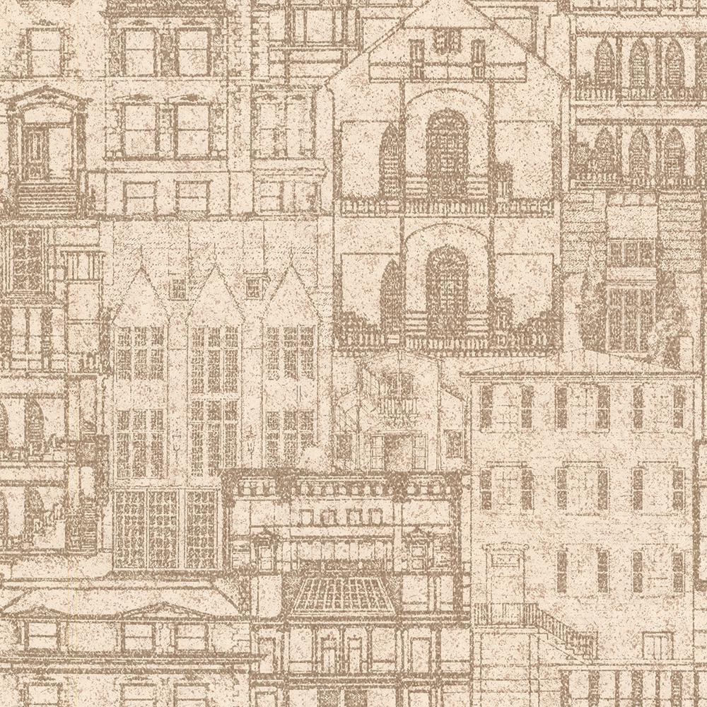 Facade Sand Vintage Blueprint Wallpaper Sample