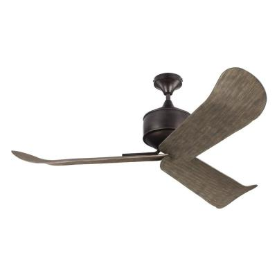 Dylan 56 in. Indoor/Outdoor Aged Pewter Ceiling Fan with Light Grey Weathered Oak Blades, DC Motor and Remote Control