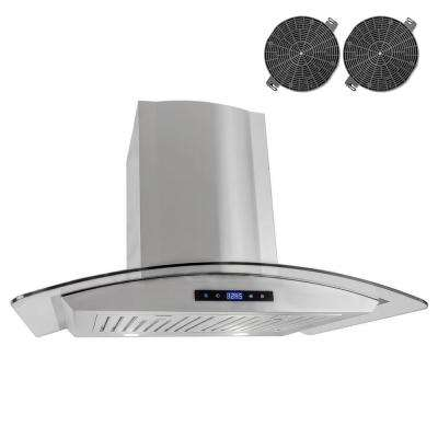 30 in. Ductless Wall Mount Range Hood in Stainless Steel with LED Lighting and Recirculating Filter Kit