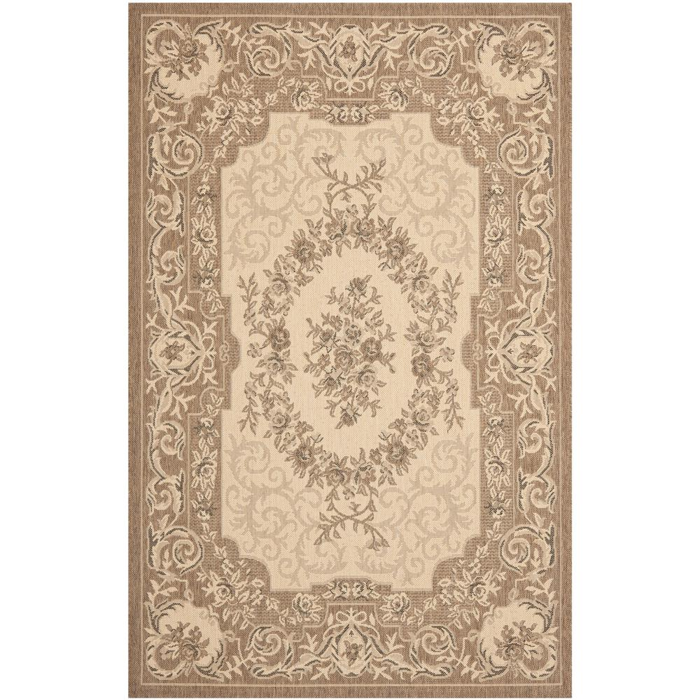 Courtyard Cream/Brown 6 ft. 7 in. x 9 ft. 6 in.