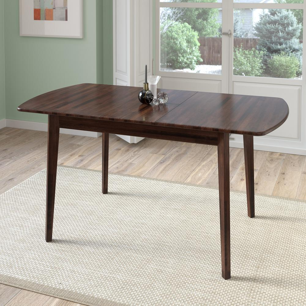 CorLiving Dillon Cappuccino Stained Wood Extendable Oblong Dining - Oblong dining table with leaf