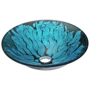 ANZZI Key Series Deco-Glass Vessel Sink in Lustrous Blue and Black by ANZZI