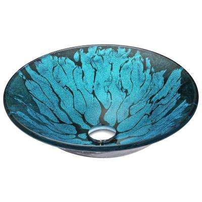 Key Series Deco-Glass Vessel Sink in Lustrous Blue and Black
